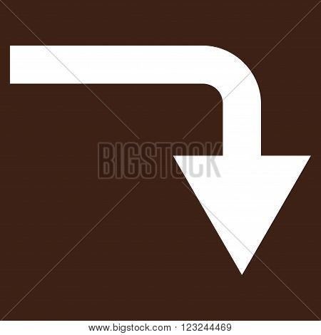 Turn Down vector icon. Image style is flat turn down pictogram symbol drawn with white color on a brown background.