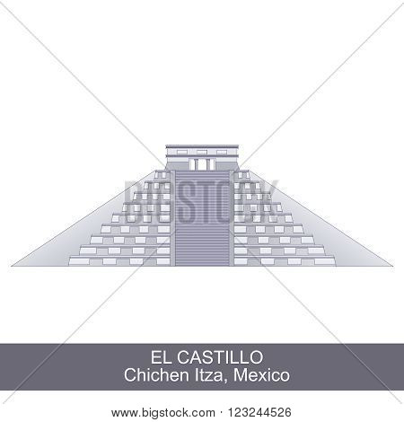 Color Illustration of El Castillo, Kukulkan Pyramid in Chichen Itza, Mexico