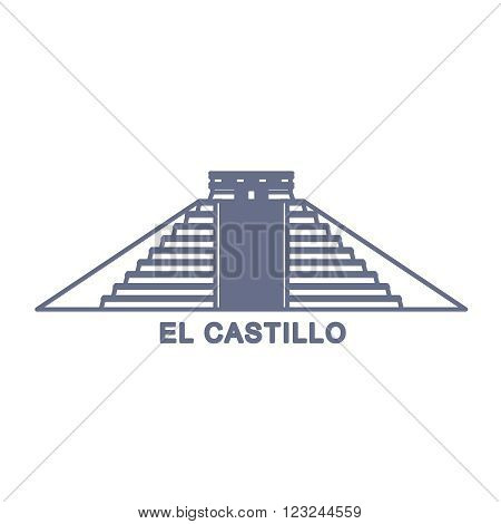 Simple Illustration of El Castillo, Kukulkan Pyramid in Chichen Itza, Mexico