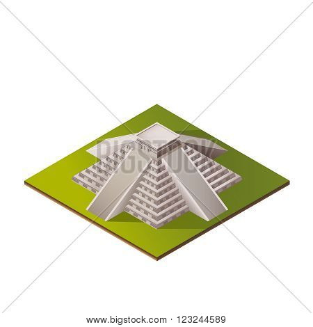 Color Isometric Iluustration of El Castillo - Kukulkan Pyramid in Chichen Itza, Mexico