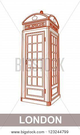 Detail Drawing of Classic London Red Telephone Booth