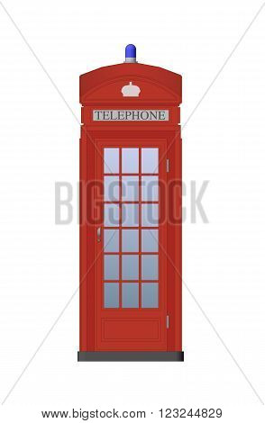 Detailed Color Illustration. Traditional Red Telephone Booth