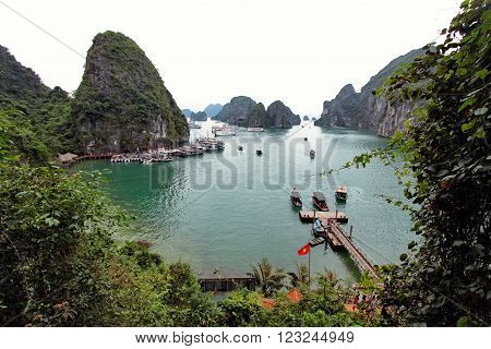 HALONG BAY, HALONG, VIETNAM, APRIL 2015. Halong Bay in Vietnam vith a lot of islsnds.