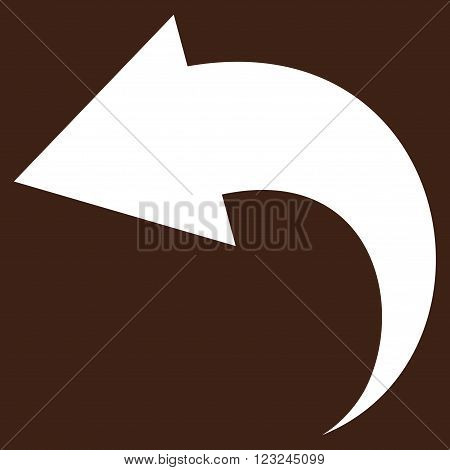 Undo vector icon. Image style is flat undo pictogram symbol drawn with white color on a brown background.