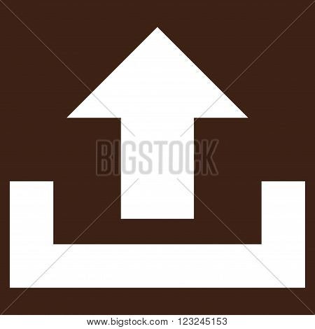 Upload vector icon. Image style is flat upload pictogram symbol drawn with white color on a brown background.