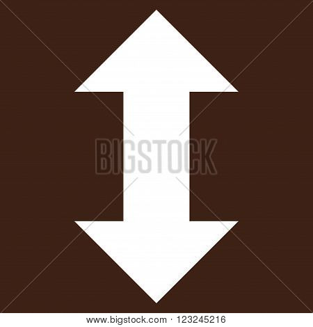 Vertical Exchange Arrows vector icon. Image style is flat vertical exchange arrows pictogram symbol drawn with white color on a brown background.