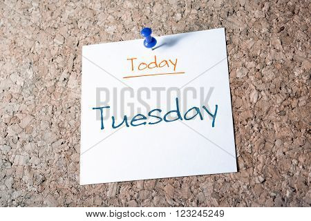 Tuesday Reminder For Today On Paper Pinned On Cork Board