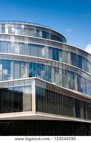Oxford, England - March 2016: The Blavatnik School of Government, part of Oxford University, designed by Swiss architects Herzog & de Meuron