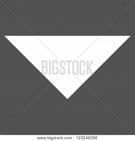 Arrowhead Down vector icon. Image style is flat arrowhead down pictogram symbol drawn with white color on a gray background.
