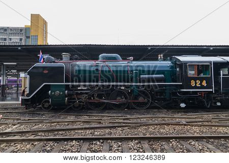 Bangkok, Thailand - March 26, 2016 : Steam train at Foundation Day of train operation 119 years anniversary of the State Railway of Thailand.