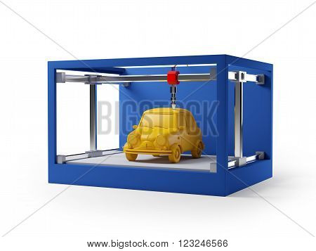 3d printer printing a car isolated on white