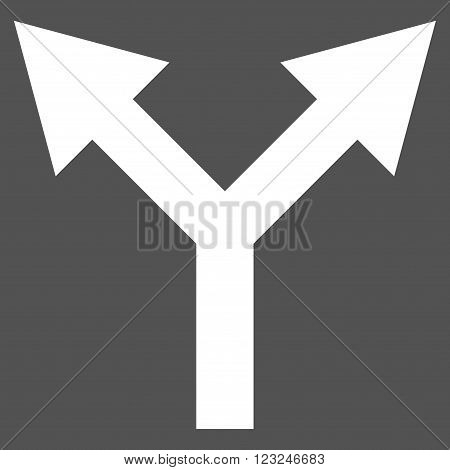 Bifurcation Arrow Up vector icon. Image style is flat bifurcation arrow up pictogram symbol drawn with white color on a gray background.