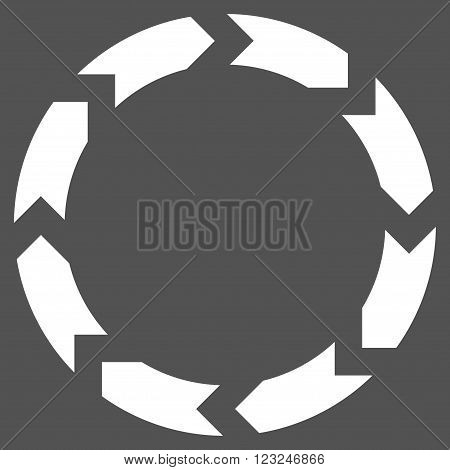 Circulation vector icon. Image style is flat circulation pictogram symbol drawn with white color on a gray background.