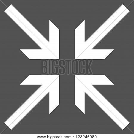 Collide Arrows vector icon. Image style is flat collide arrows pictogram symbol drawn with white color on a gray background.