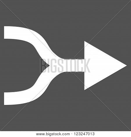 Combine Arrow Right vector icon. Image style is flat combine arrow right pictogram symbol drawn with white color on a gray background.