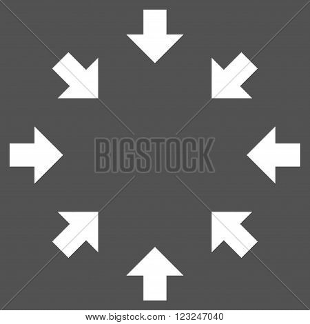 Compact Arrows vector icon. Image style is flat compact arrows pictogram symbol drawn with white color on a gray background.