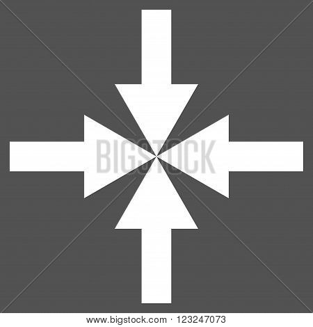Compress Arrows vector icon. Image style is flat compress arrows pictogram symbol drawn with white color on a gray background.