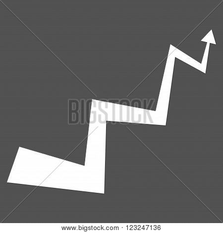 Curve Arrow vector icon. Image style is flat curve arrow pictogram symbol drawn with white color on a gray background.