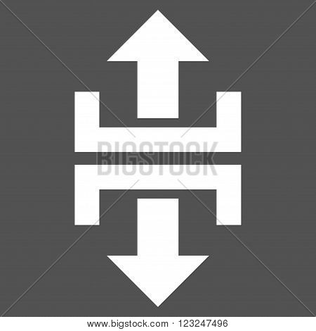 Divide Vertical Direction vector icon. Image style is flat divide vertical direction pictogram symbol drawn with white color on a gray background.