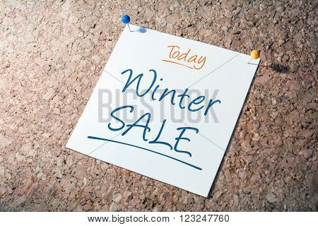 Winter Sale Reminder For Today On Paper Pinned On Cork Board