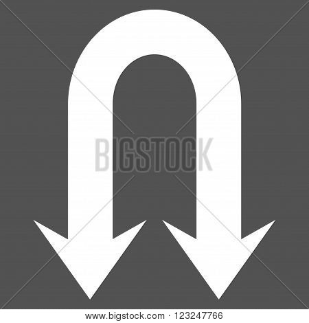 Double Back Arrow vector icon. Image style is flat double back arrow pictogram symbol drawn with white color on a gray background.