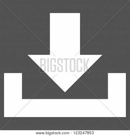 Downloads vector icon. Image style is flat downloads pictogram symbol drawn with white color on a gray background.