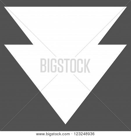 Move Down vector icon. Image style is flat move down pictogram symbol drawn with white color on a gray background.