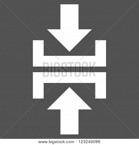 Press Vertical Direction vector icon. Image style is flat press vertical direction pictogram symbol drawn with white color on a gray background.