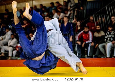 Chelyabinsk, Russia - March 19, 2016: fighter judo throw for IPPON to Russian competition on judo