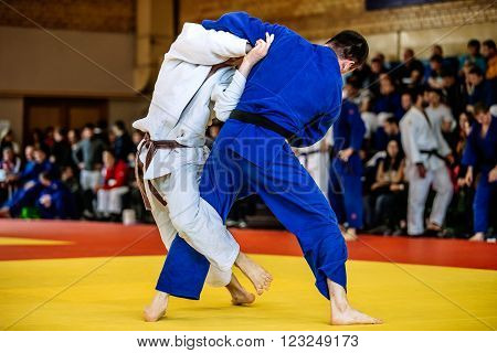 Chelyabinsk, Russia - March 19, 2016: battle of two fighters judo sports to Russian competition on judo