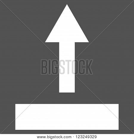 Pull Up vector icon. Image style is flat pull up pictogram symbol drawn with white color on a gray background.