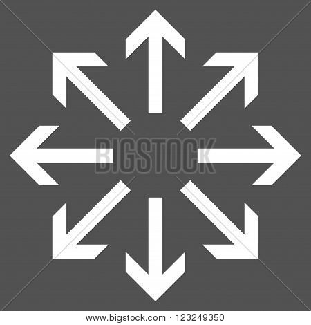 Radial Arrows vector icon. Image style is flat radial arrows pictogram symbol drawn with white color on a gray background.