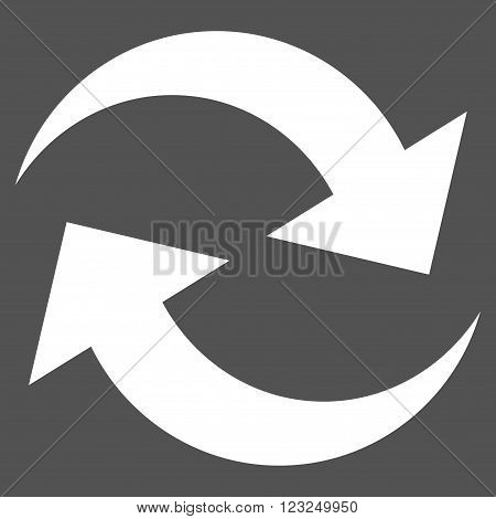 Refresh Arrows vector icon. Image style is flat refresh arrows pictogram symbol drawn with white color on a gray background.