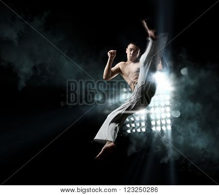 Male Fighter Trains Capoeira