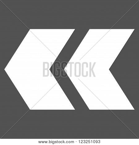 Shift Left vector icon. Image style is flat shift left pictogram symbol drawn with white color on a gray background.