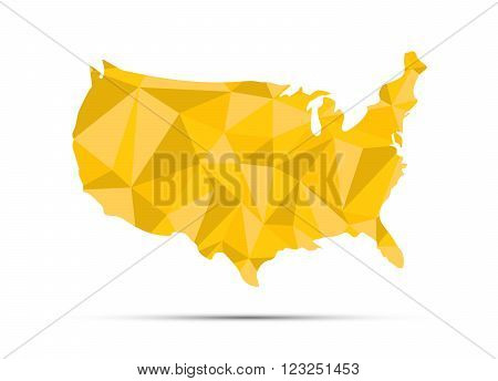 USA triangulated map. Golden silhouette isolated on white.