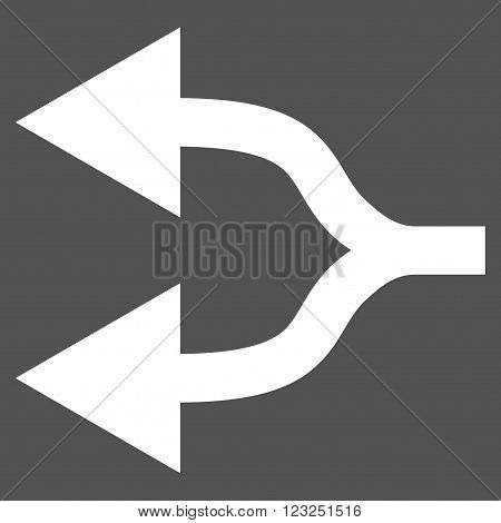 Split Arrows Left vector icon. Image style is flat split arrows left pictogram symbol drawn with white color on a gray background.