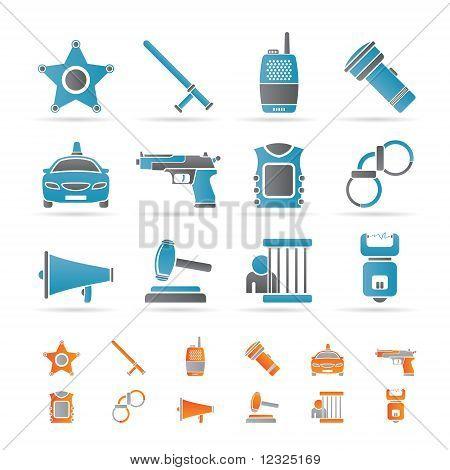 iconos de la ley, el orden, policía y delincuencia