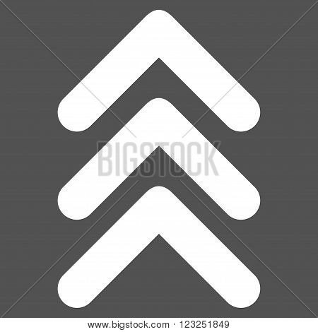 Triple Arrowhead Up vector icon. Image style is flat triple arrowhead up pictogram symbol drawn with white color on a gray background.