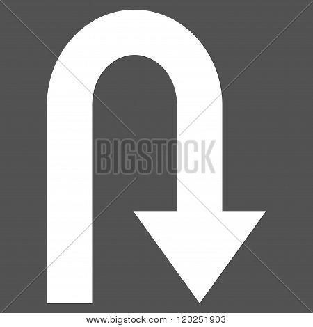 Turn Back vector icon. Image style is flat turn back pictogram symbol drawn with white color on a gray background.