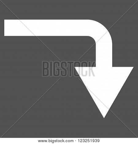 Turn Down vector icon. Image style is flat turn down pictogram symbol drawn with white color on a gray background.