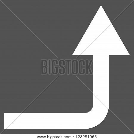 Turn Forward vector icon. Image style is flat turn forward pictogram symbol drawn with white color on a gray background.