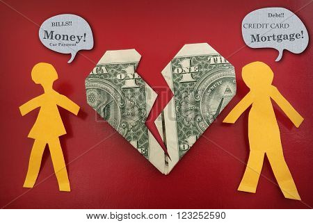 Paper couple fighting about money with broken dollar heart