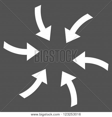 Twirl Arrows vector icon. Image style is flat twirl arrows pictogram symbol drawn with white color on a gray background.