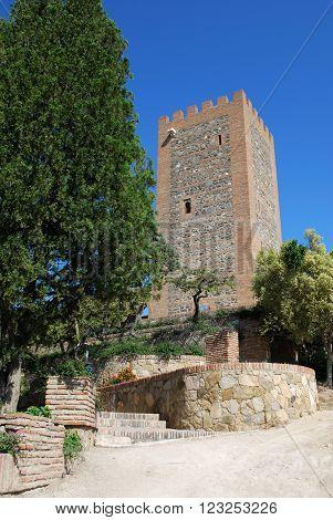 View of the Arabic castle tower (Torre del Homenaje) Velez Malaga Costa del Sol Malaga Province Andalusia Spain Western Europe.
