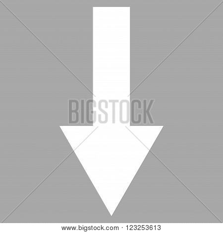 Arrow Down vector icon. Image style is flat arrow down pictogram symbol drawn with white color on a silver background.
