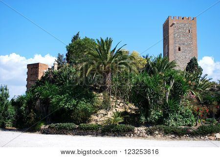 View of the Arabic castle tower (Torre del Homenaje) with palm trees in the foreground Velez Malaga Costa del Sol Malaga Province Andalusia Spain Western Europe.