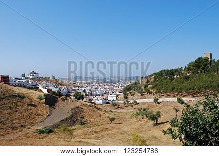 View of the town with the castle to the right Velez Malaga Costa del Sol Malaga Province Andalusia Spain Western Europe.