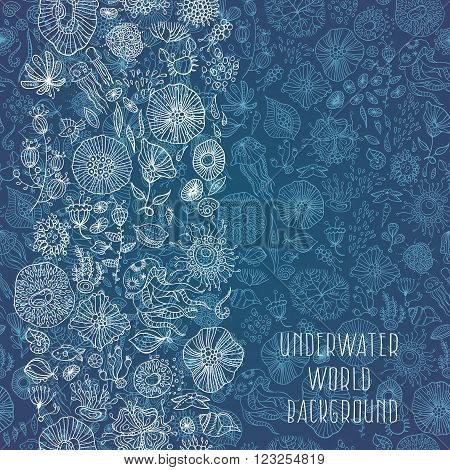 underwater life with different abstract sea creatures vector