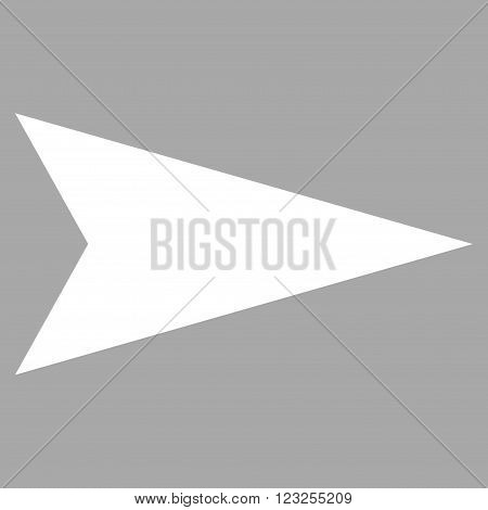 Arrowhead Right vector icon. Image style is flat arrowhead right pictogram symbol drawn with white color on a silver background.